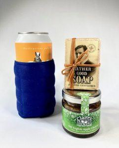 beer can/bottle holder, soap, old english apple chutney