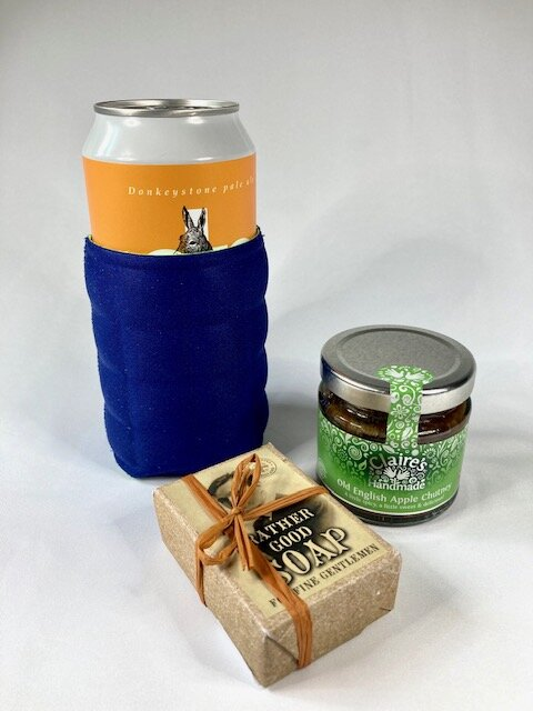 beer can/bottle holder, soap, old english apple chutney