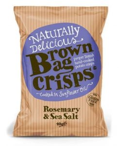 1 x 40g Brown Bag Crisps. Varieties include Rosemary & Sea Salt/Smokey Bacon/Tiger Prawn, Chilli and Lime/ West Country Cheddar & Onion/Sea Salt & Malt Vinegary/Oak Smoked Chilli.