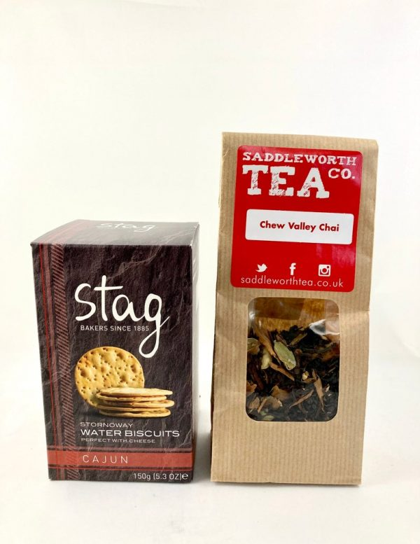 stag water biscuits & chew valley chai tea