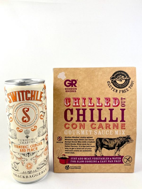 ginger & peach can drink, chill con carne gourmet sauce - meat