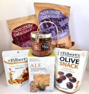 Crisps, olive snack, mixed nuts