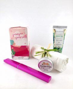 pamper soap, cocoa butter lip balm, green tea